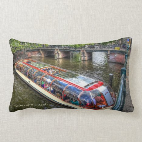 Typical Amsterdam Canal Scene, Sights of Amsterdam Lumbar Pillow