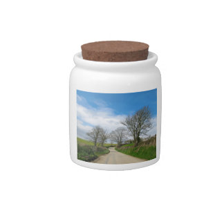 Typical English Country Road in Cornwall Candy Jar