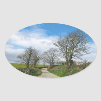 Typical English Country Road in Cornwall Oval Sticker