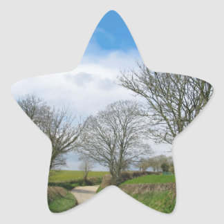 Typical English Country Road in Cornwall Star Sticker