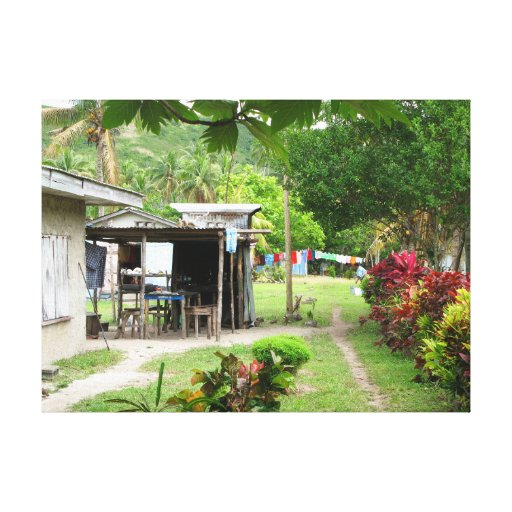 Typical Fijian home in Naviti Gallery Wrapped Canvas