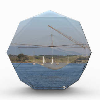 Typical italian fishing net along the river acrylic award