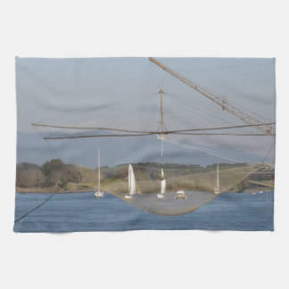 Typical italian fishing net along the river hand towels