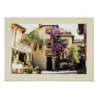 Typical Italian village piazza Poster