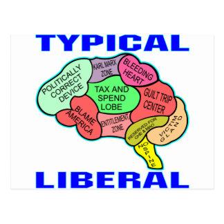 Typical Liberal Socialist Brain Postcard