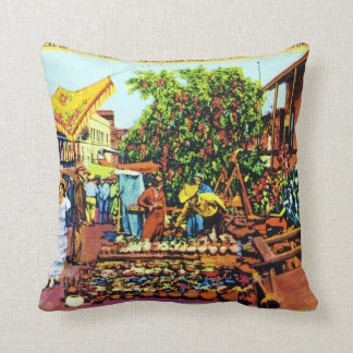 Typical of Early Los Angeles - Olvera Street Throw Pillow