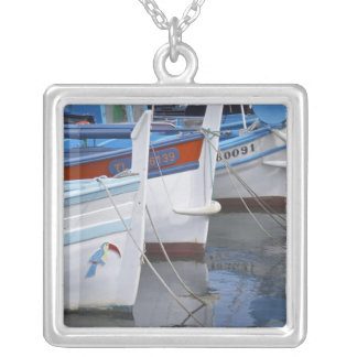 Typical Provencal fishing boats painted in 2 Square Pendant Necklace