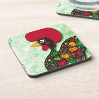 Typical Rooster of Barcelos Beverage Coaster
