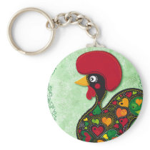Typical Rooster of Barcelos Keychain