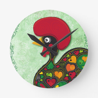Typical Rooster of Barcelos Round Clock