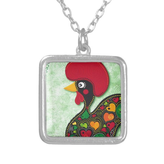 Typical Rooster of Barcelos Silver Plated Necklace