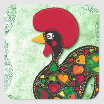 Typical Rooster of Barcelos Square Sticker