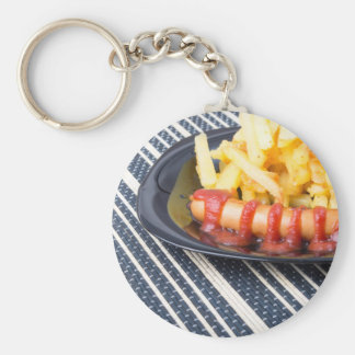 Typical Russian dish - fried potatoes and sausage Keychain