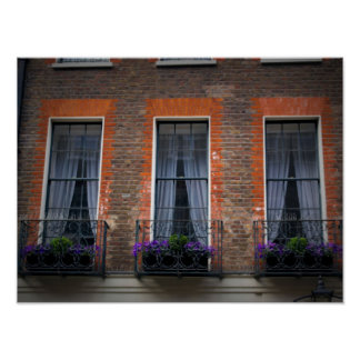 Typical Springtime London Window Flower Boxes Poster