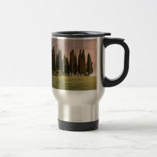 Typical Tuscan landscape of cypress trees Travel Mug