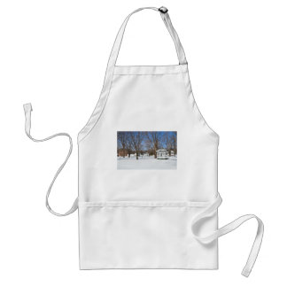 Typical Vermont Town In Winter Adult Apron