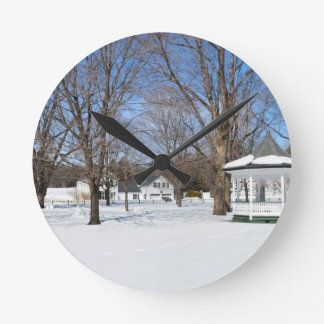 Typical Vermont Town In Winter Wall Clock