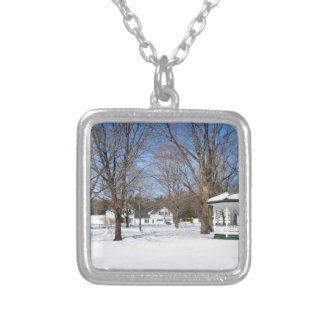 Typical Vermont Town In Winter Personalized Necklace