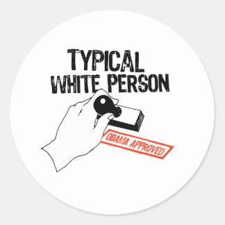 TYPICAL WHITE PERSON CLASSIC ROUND STICKER