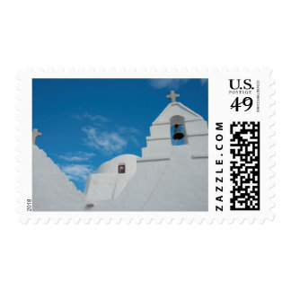 Typical whitewashed church postage stamp