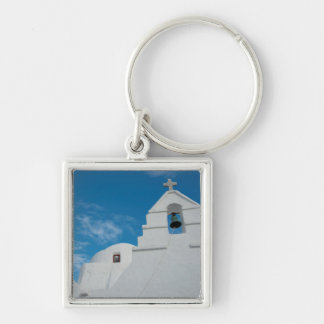 Typical whitewashed church Silver-Colored square keychain