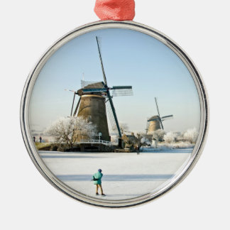 Typically dutch ice skating  at Kinderdijk Holland Metal Ornament