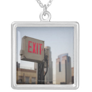 typically exit sign glows bright in the blue pendant