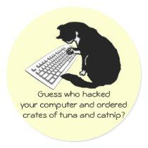 Typing Cat Classic Round Sticker