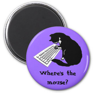 Typing Cat 2 Inch Round Magnet