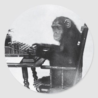 Typing Monkey Classic Round Sticker
