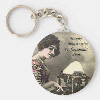 Typist Administrative Professional Day Vintage Pho Basic Round Button Keychain