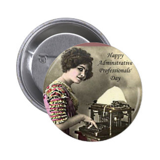 Typist Administrative Professional Day Vintage Pho Pinback Button