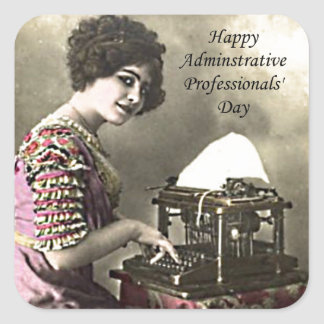 Typist Administrative Professional Day Vintage Pho Square Sticker