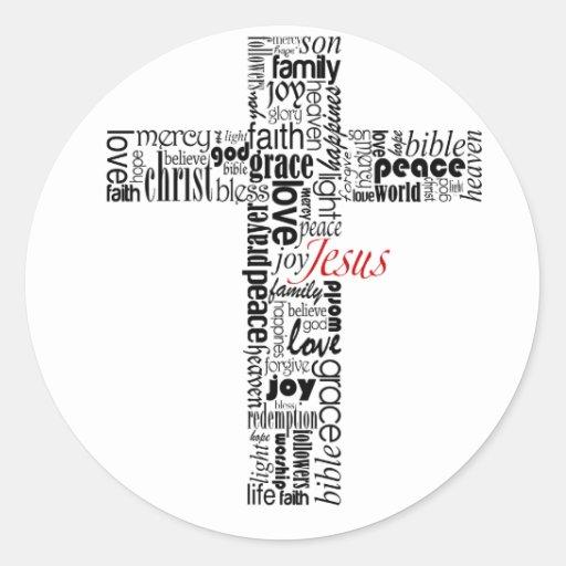 Typo Cross Round Sticker