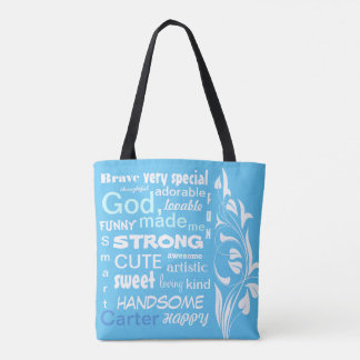 Typographic ART Design, Personalize for a Boy Tote Bag