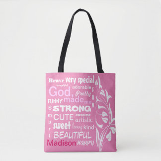 Typographic ART Design, Personalize for a Girl Tote Bag