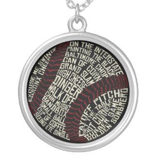 Typographic Baseball Softball Necklace