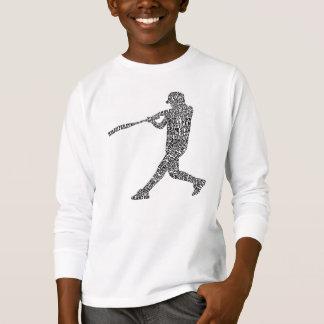 Typographic Baseball Softball Player T-Shirt