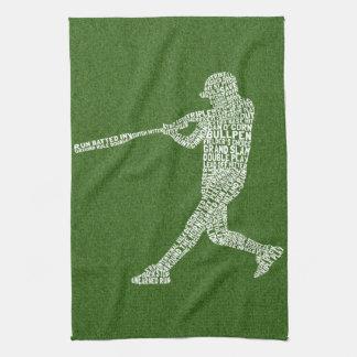 Typographic Baseball Softball Player Tea Towel