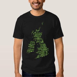 Typographic British Isles - Green and Black. Shirt