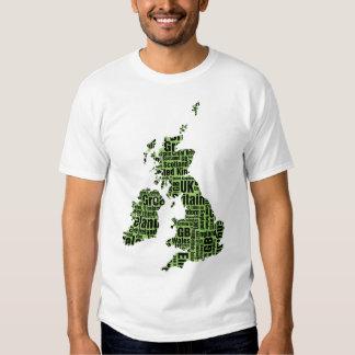 Typographic British Isles - Green and Black. T Shirts