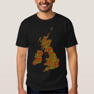 Typographic British Isles - Green and Red Shirt