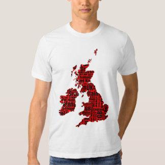 Typographic British Isles - Red and Black. Tee Shirt