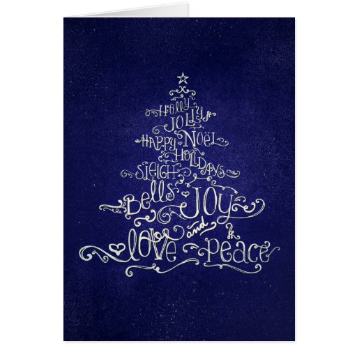 Typographic Christmas Tree Blue & White Card