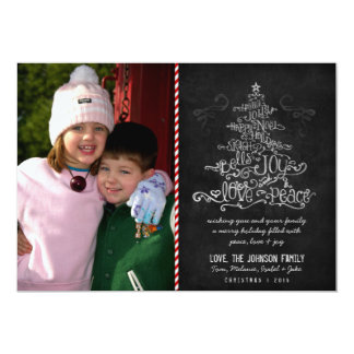 "Typographic Christmas Tree Chalkboard Photo Card 5"" X 7"" Invitation Card"