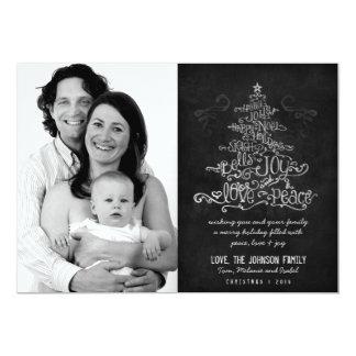 "Typographic Christmas Tree Chalkboard Photo Card 5"" X 7"" Invitation Card"