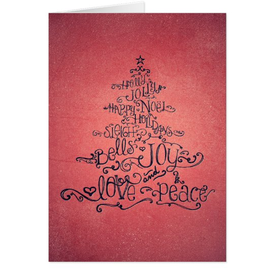 Typographic Christmas Tree Cranberry Pink Card