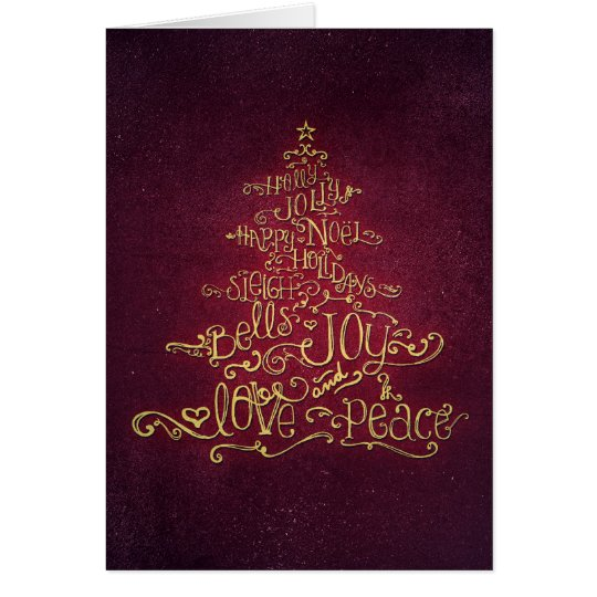 Typographic Christmas Tree Vintage Red Card