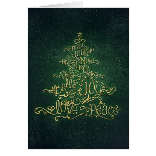 Typographic Green & Gold Christmas Tree Card