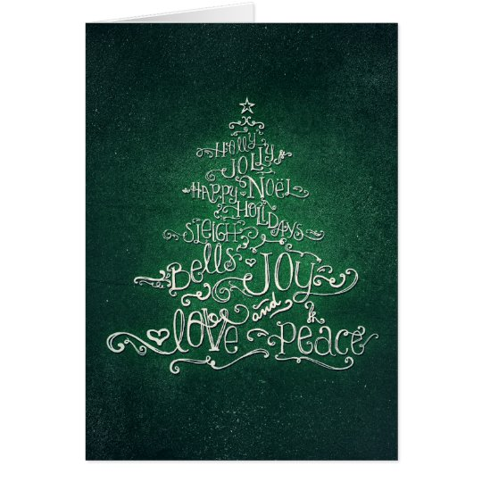 Typographic Green & Silver Christmas Tree Card